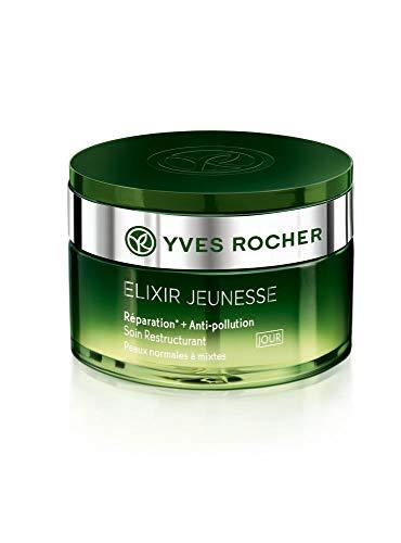 Yves Rocher ELIXIR JEUNESSE Restrukturierende Pflege Tag – normale & Mischhaut, Tagescreme Detox & Repair, 1 x Glas-Tiegel 50 ml