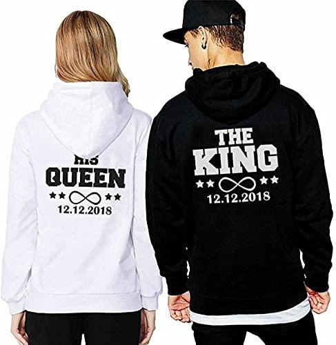 Friend Shirts King Queen Pärchen Partner Hoodie Pullover Wunsch Datum Couple Geschenk - Weiß L