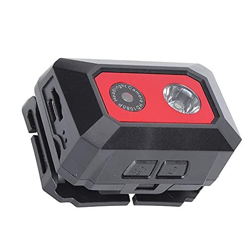 cigemay Cámara de acción HD, Mini cámara Deportiva 1080P con Reflector LED y Diadema de Alta Elasticidad, batería Recargable de 1000 mAh, para Buceo/Bicicleta/Escalada/natación(Rojo)