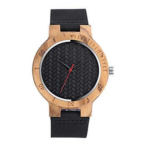 MICGIGI Reloj de pulsera de madera de bambú minimalista para hombres y mujeres con correa de cuero
