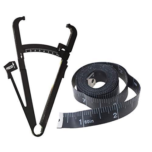 Set Medidor de Grasa Corporal (3 EN 1) - Pinza Plicómetro Calibrador Pliegues + Cinta Métrica + Manual de Uso y Formulario - Calcular Grasa Corporal, Diámetro Óseo y Muscular