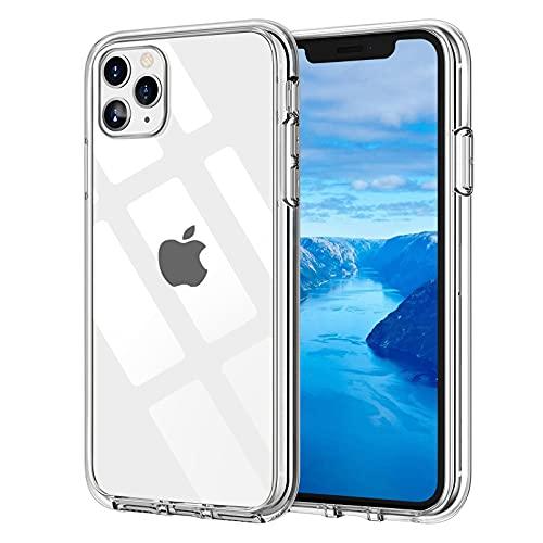 Whew Crystal Clear iPhone 11 Pro Hülle, [Transparent Anti-Gelb] Hard PC und Soft Silikon Ultra Hybrid iPhone 11 Pro Handyhülle Durchsichtig Silikon Schutzhülle Slim Hülle