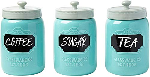 Mason Jar Ceramic Canister Set for Kitchen - Set of 3 Decorative Storage Containers with Air-Tight Lids for Coffee, Sugar & More - Aqua Blue Storage w/Reusable Writable Surface - 12.85oz/Canister