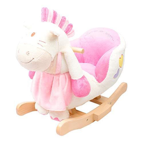solini Schaukeltier Pony mit Soundfunktion - Spielzeug mit Soundeffekten auf Druck des Ohres, Kufen & Griffen aus Holz - rosa/weiß