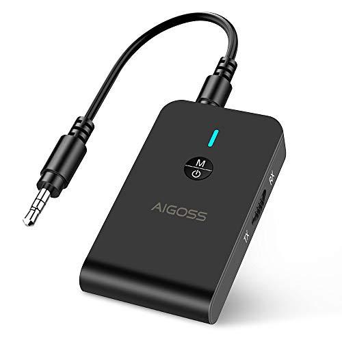 Aigoss Bluetooth Transmitter und Empfänger, 2 in 1 Kabelloser Sender / Empfänger mit 3,5mm Audio Kabel, Tragbarer Bluetooth 5.0 Adapter mit Aptx für TV, PC, MP3 / MP4, Auto / Heim Stereoanlage Schwarz