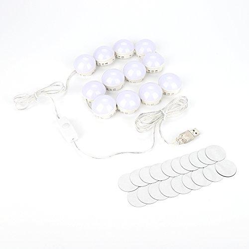 LED-spiegellamp, 10 stuks/12 stuks make-up spiegellampen LED-lampenkit, 5 helderheidsinstelbaar, spiegelverlichting voor make-upspiegel, make-uptafel, voor doe-het-zelf decoratie 12 stuks.