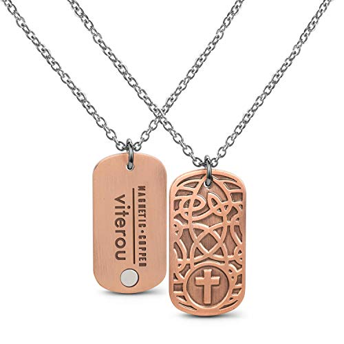 VITEROU Magnetic Pure Copper Therapy Celtic Knot Dog Tag Pendant Necklaceq with Healing Magnets Pain Relief for Neck Arthritis Migraine Headaches Shoulders and Back,3500 Gauss