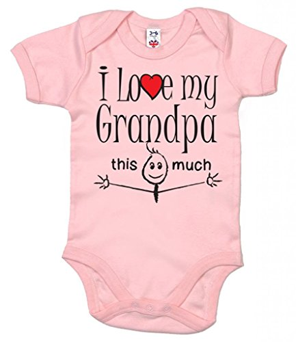 Dirty Fingers, I Love My Grandpa This Much, Baby Body, 12-18m, Rosa