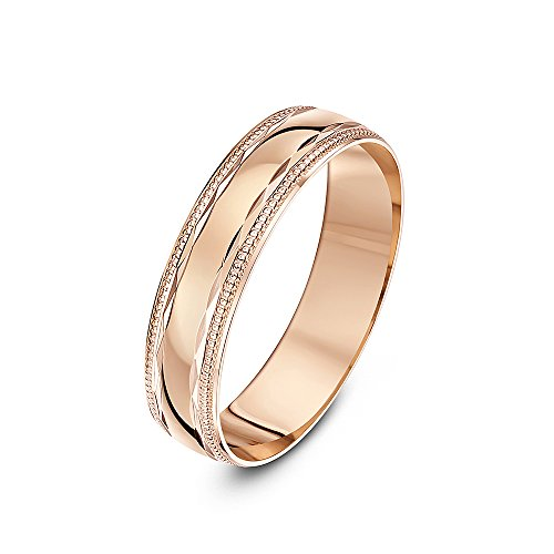Theia 9 ct Rose Gold, Diamond Shaped Design with Polished Milgrain/Beaded Edges, 5 mm Wedding Ring - Size P