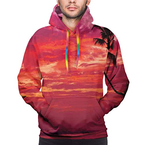 Men's Hoodies 3D Print Pullover Sweatershirt,Sunset View from A Tropical Island Beach with Silhouette of Palm Tree On The Shore Art Print,3XL