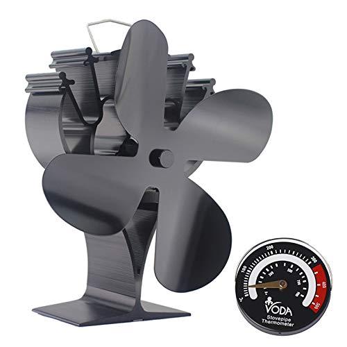 4 Flügel-Ofenventilator, leiser Betrieb, wärmebetriebener Ventilator mit magnetischem Thermometer, für Holz-/Holzbrenner oder Kamin