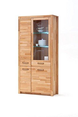 lifestyle4living Vitrine in Kern-Buche, Massiv-Holz geölt, 98 cm breit | Vitrinenschrank mit 3 Türen und 1 Glas-Tür, Glas-Einlegeböden und Beleuchtung