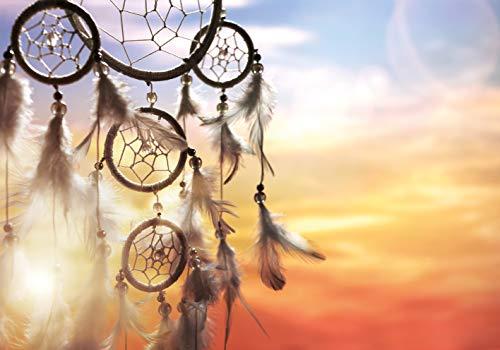 PICSonPAPER Poster Traumfänger im Sonnenuntergang, 100 cm breit x 70 cm hoch, Federn, Indianer, Schlafen