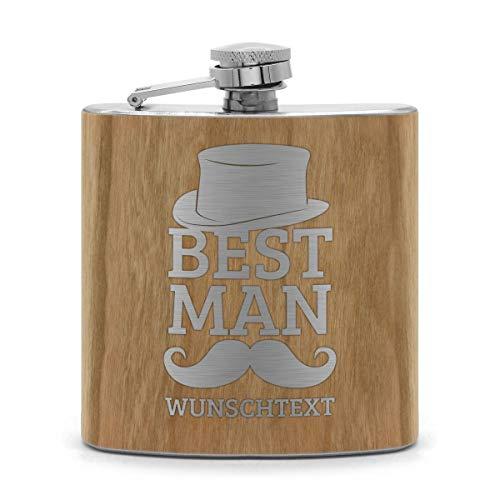 printplanet® - Holz Flachmann mit Name oder Text graviert - Schnaps-Flasche mit Namensgravur selbst gestalten - Motiv: Best Man