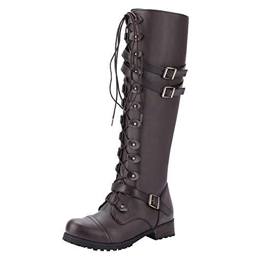 Yowablo Damen Hohe Stiefel Rundkopf-Nietgürtelschnalle quadratisch mit Damenstiefeln aus Hochrohr (35 EU,Braun)