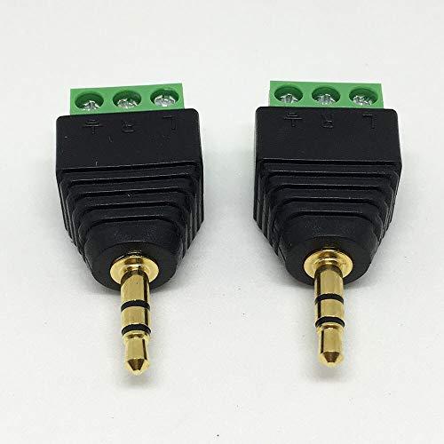LIXUDECO 1 conector CCTV BNC de 2,5 mm y 3,5 mm macho hembra de audio y vídeo balun sistema adaptador de seguridad coaxial CAT5 RJ45 USB Jack (color 3,5 mm 3 polos)