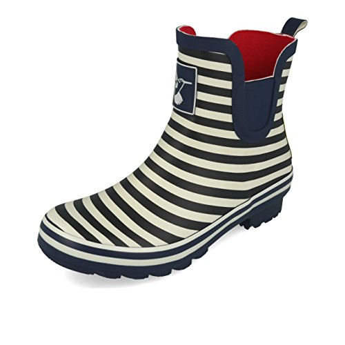 Evercreatures Frauen Regen-Boot Stiefelette Meadow Gummistiefel Garten Kofferraum UK Marke,Bristol Navy Stripe,UK4/37 EU