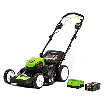 Greenworks Pro 21-Inch 80V Self-Propelled Cordless Lawn Mower 5Ah Battery Included MO80L510