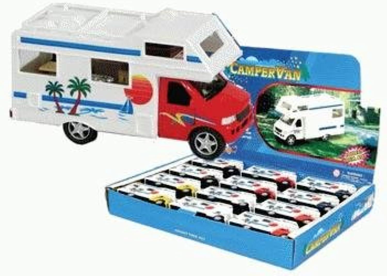Diecast Camper Van with Beach Scene, 1pc (Pullback Action & Opening Doors)