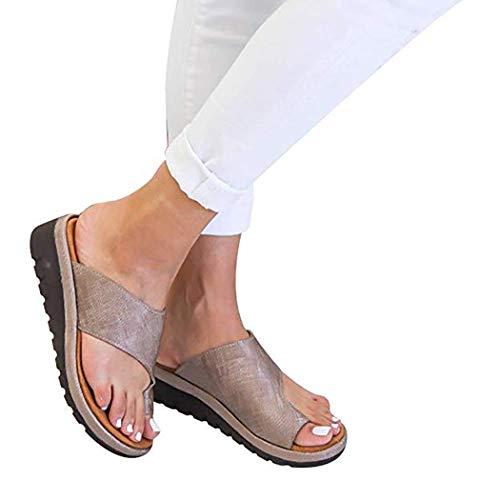 ZG-TX Frauen Plattform Sandale Schlupfstiefel Big Toe Hallux Valgus Unterstützung Orthesen Für Correct Mit Bunion Splints Damen Sommer Strand Reise Schuhe,Bronze,38