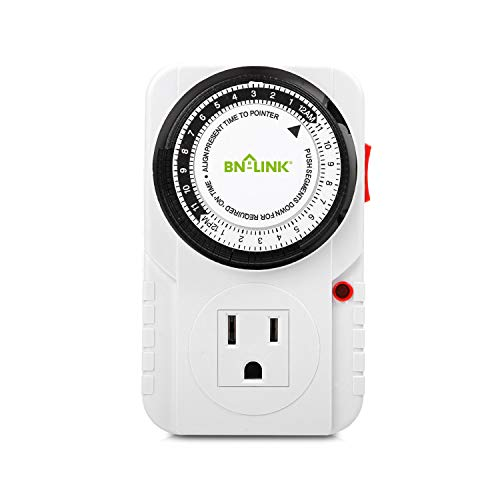 BN-LINK 24 Hour Plug-in Mechanical Timer Grounded, Accurate Heavy...