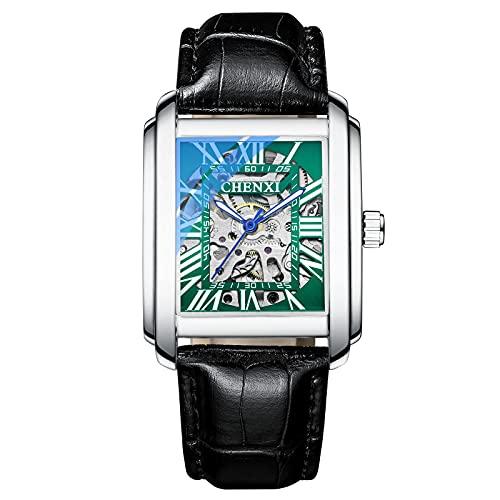 Shmtfa Relojes Cuadrados para Hombre Relojes Pulsera MecáNicos AutomáTicos con Cuerda Elfa 3ATM CronóGrafo Luminoso Impermeable con Correa Cuero para Hombres DecoracióN Informal(+)