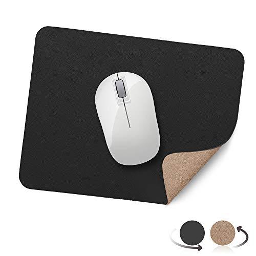 AtailorBird Mauspad Umweltfreundliche Naturkork und PU Leder Material (270*210*2mm) Office Mausepad Wasserdicht Doppelseitige Mauspad für PC, Computer und Laptop - Schwarz und Kork