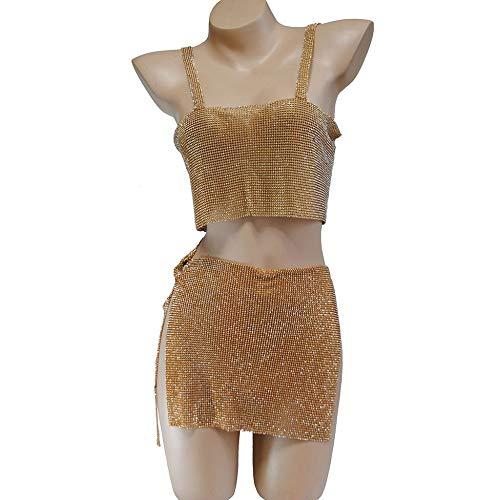 LERDBT Diamant-Körperkette Nachtclub Frauen Bikini BH Set sexy Minirock körper Kette Harness hoch Split Pailletten glänzendes Dress für Partei Strand Damen Badeanzüge Halskette Rhinstone BH Ketten