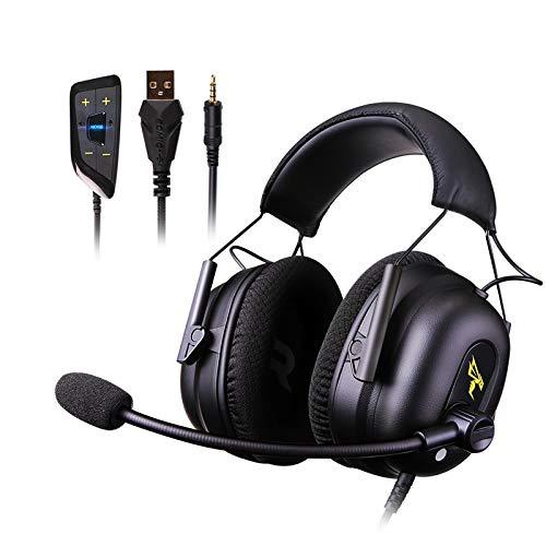 WYH Música G936N Gamer Auriculares de 3,5 mm USB 7.1 Virtual Gaming Auriculares Surround Sound cancelación de Ruido Auriculares for PC Juegos PS4 Resistente al Sudor (Color : Black)