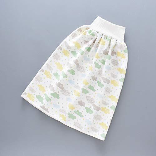 LCJDD Pantalones Cortos de Falda de pañal para niños, 2 en 1, pantalón de Entrenamiento de algodón Impermeable para niños pequeños para bebé, niño, niña, Noche, Dormir (Color : H, Size : M)