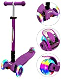 ChromeWheels Scooters for Kids, Deluxe Kick Scooter Foldable 4 Adjustable Height 132lbs Weight Limit 3 Wheel, Lean to Steer LED Light Up Wheels, Best Gifts for Girls Boys Age 3-12 Year Old, Purple