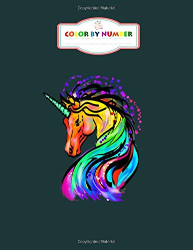 Color by Number: cute colorful rainbow unicorn lover gif - Animals Coloring Books for Kids (Adult Coloring) - 8.5 x 11 Inches