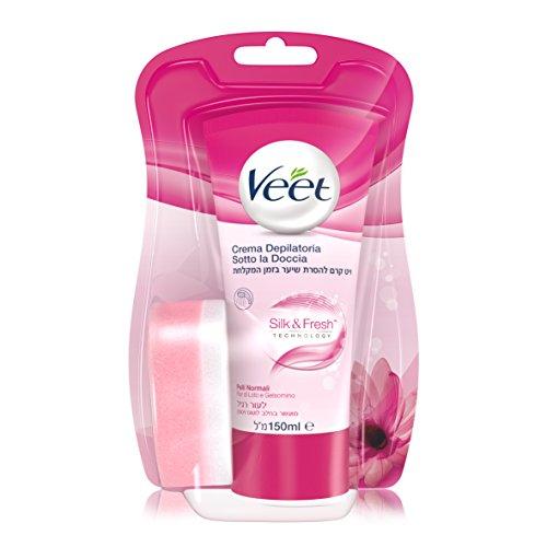 Veet Crema Depilatoria Sotto la Doccia Silk & Fresh Technology Pelli Normali, 150 ml