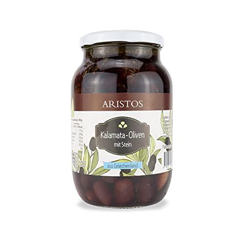 ARISTOS Original Griechische Kalamata Oliven mit Stein aus eigenem Anbau – 1x 650 g Glas (Abtropfgewicht) leckere im Hausrezept eingelegte Kalamon Oliven ungeschwärzt