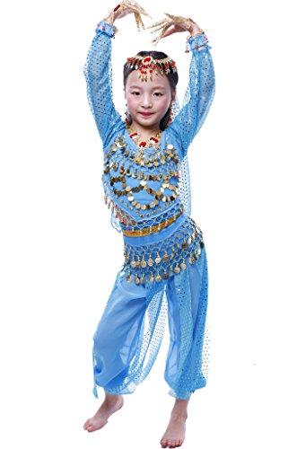 Disfraz para niña de bailarina de danza del vientre india de manga larga con todos los accesorios, Infantil, color azul real, tamaño L Fits 8-9 years