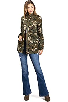 Love Tree Women s Juniors Cargo Parka Camouflage Print Jacket  M Camo