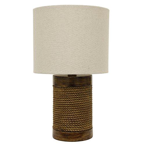 Décor Therapy TL15455 - Lámpara de mesa, diseño de cuerda/madera