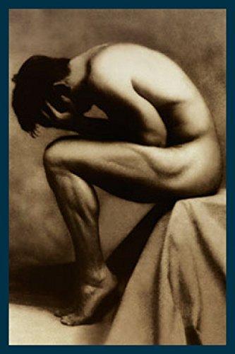Art-Galerie Bild mit Rahmen Edward Lunch - Nude Male - Holz blau, 61 x 91cm - Premiumqualität - Photokunst, Eros & People, nackter, Mann - Made IN Germany SHOPde