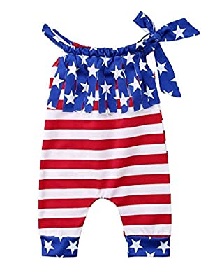 Oklady 4th of July Outfits Gift Clothes Jumpsuits Toddler Baby Girl Independence Day American Flag Sleeveless Romper 6-12Months