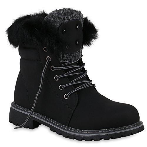 Damen Stiefeletten Outdoor Worker Boots Fell Warm Gefüttert 147005 Schwarz Brooklyn Black 38 Flandell