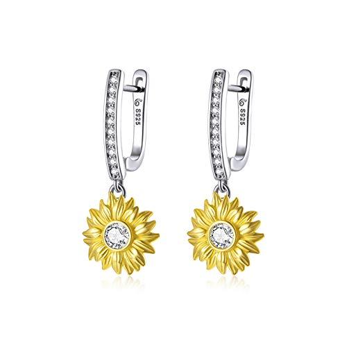 JQAM Pendientes de aro de Flor de Sol con Revestimiento de separación de Color hipoalergénico de Plata esterlina S925 para Mujer BSE469
