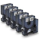 Aken Cinta de vinilo Compatible para usar en lugar de Dymo Rhino 18444, Dymo Etiquetas industriales 12 mm x 5,5 m, Negro sobre blanco, para Dymo Rhino 4200, 5000, 5200, 6000, ILP219 (Vinl Band 12 mm)