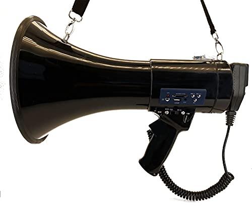 Portable Megaphone Bullhorn Speaker w Siren & 3.5mm Aux Input- 50 Watt in 1200 Yard Range- Professional Megaphone Speaker for Outdoor Sports, Cheerleading and Coaches or Police Safety Drills (Black)