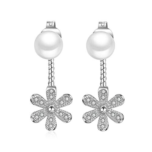 QYTSTORE 925 Sterling Silver Daisy Flower Back Hanging Pearl Silver Earrings, Size: 2.1 * 0.9 Cm, Women's Earrings Sterling Silver Jewelry Beautiful and stylish