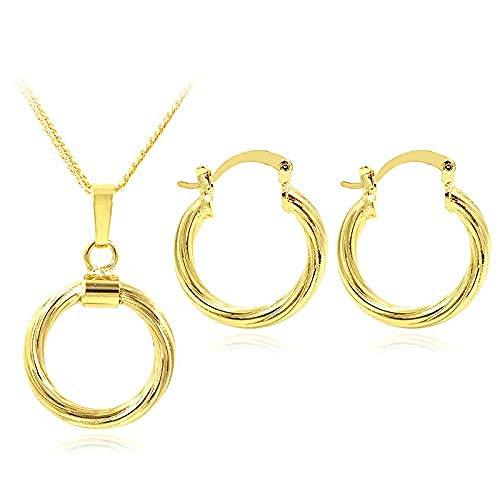 pyongjie Collar Joyería De Moda para Mujer, Pendientes De Aro, Collar con Colgante, Conjunto De Joyería Redonda Dubai para Fiesta, Boda, Collar, Longitud 45Cm