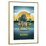 artboxONE Poster mit Rahmen Gold 45x30 cm Bilbao Surfer von