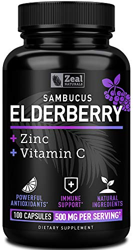 Elderberry Capsules + Vitamin C with Zinc (100 Count | 500mg) 3-in-1 Immune Booster for Adults Elderberry Pills Immune System Support with Concentrated Black Sambucus Elderberry