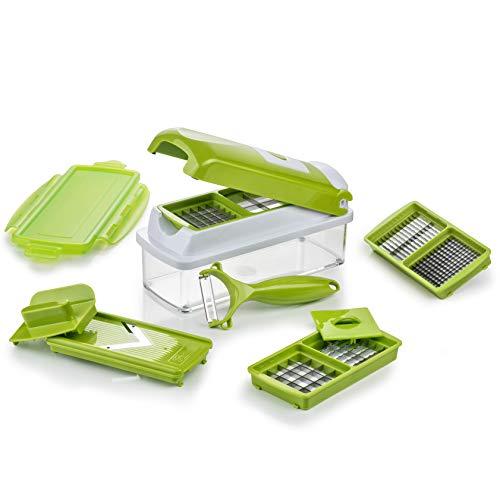 Genius Nicer Dicer Smart (10 Teile) Gemüseschneider Zwiebelschneider Mandoline Multischneider Gemüsehobel Obstschneider - Schneiden Würfeln Hobeln Stifteln Schälen Aufbewahren