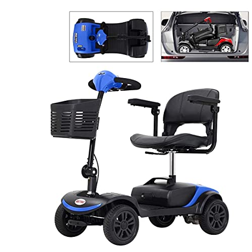 4 Wheel Mobility Scooters for Seniors (FBA Quick Delivery), Electric Powered Mobility Scooter for Adults with Basket for Gravida, Foldable in Boot Trunk for Traveling with Parents(Blue)