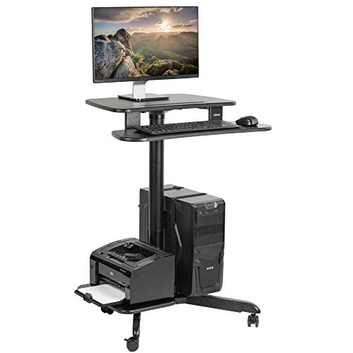 VIVO Rolling Dual Tier 24 inch Sit to Stand Mobile Computer Workstation with Printer and PC Platform, Height Adjustable Desk Presentation Cart, Black, CART-PC02HB